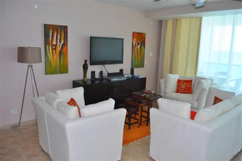 relaxing living room of unit 401 Ocean One